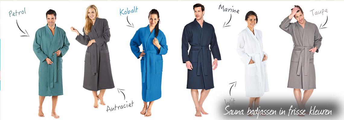Sauna badjassen in frisse kleuren
