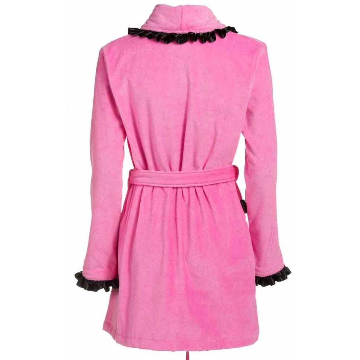 Roze dames badjas met satijn