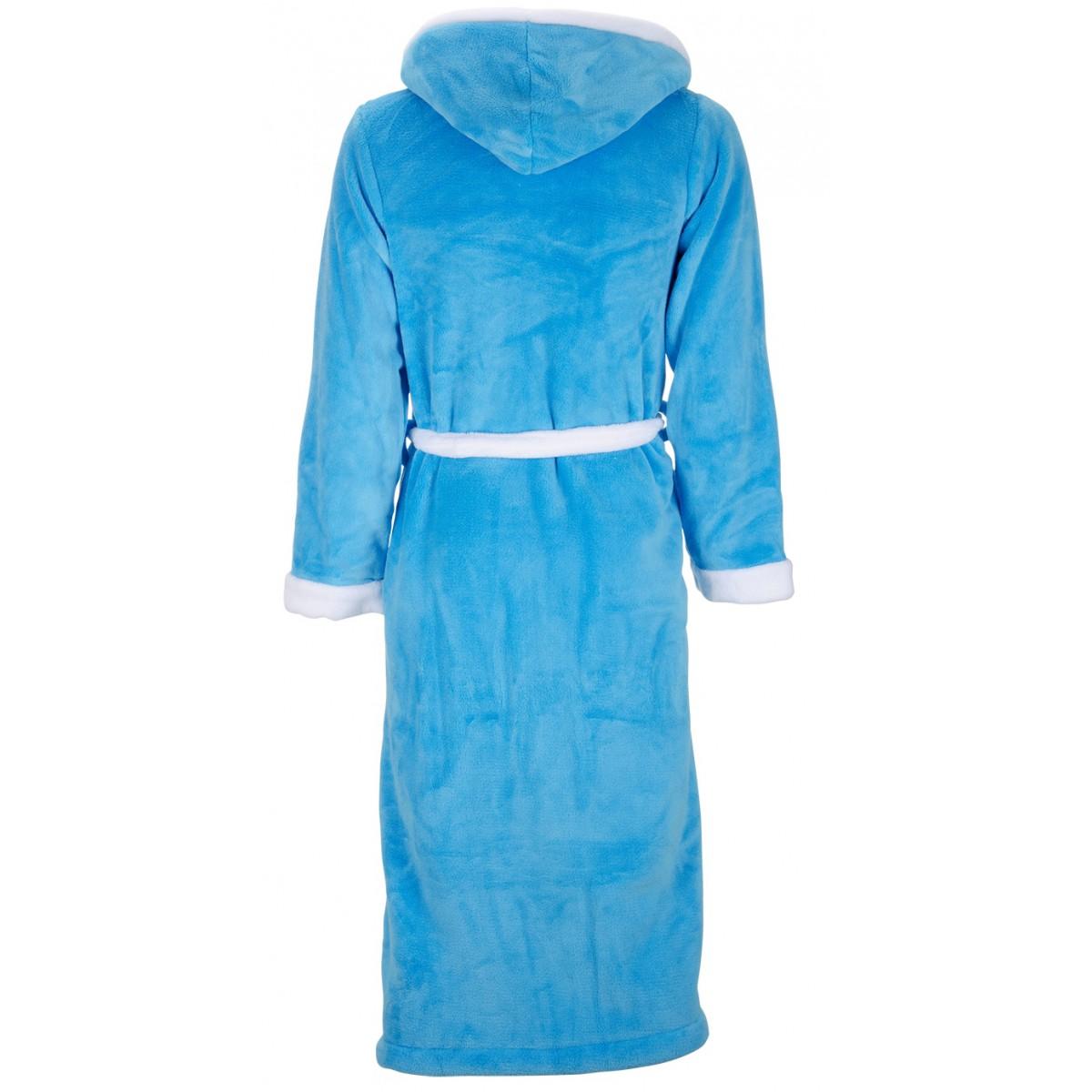 Aquablauwe damesbadjas met capuchon
