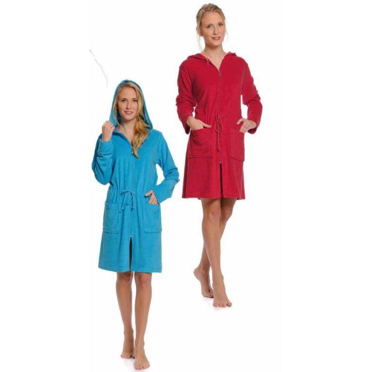 Badjas met rits aqua & rood