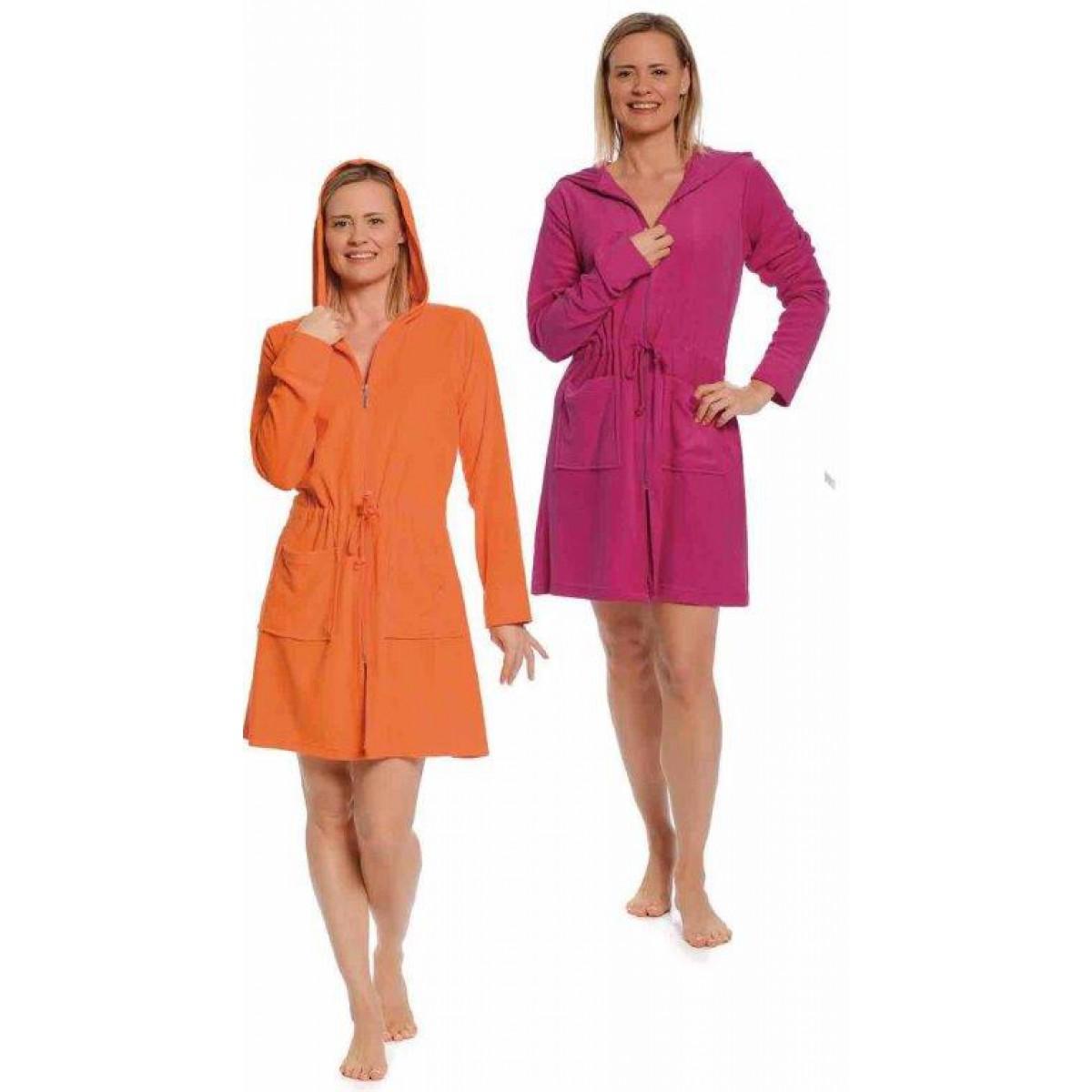 Badjas met rits oranje & roze