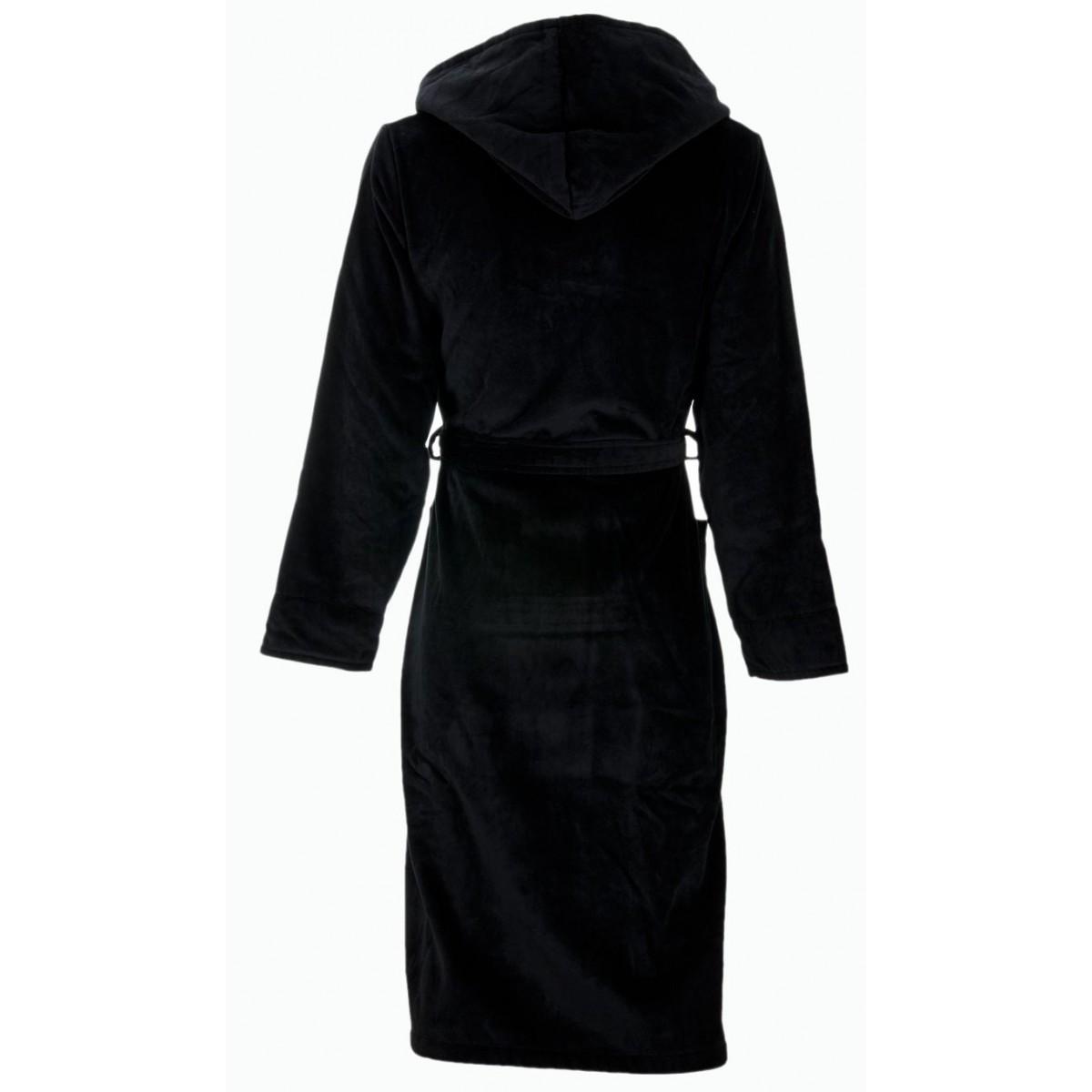 Zwarte heren-badjas met capuchon