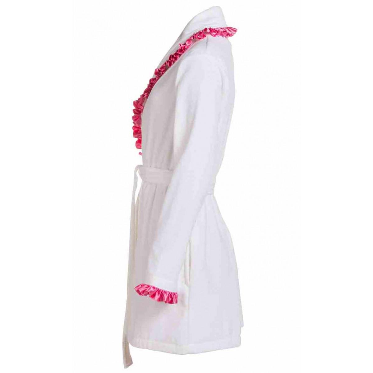 Witte dames badjas met satijn