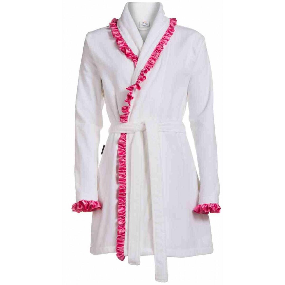Witte damesbadjas met satijn