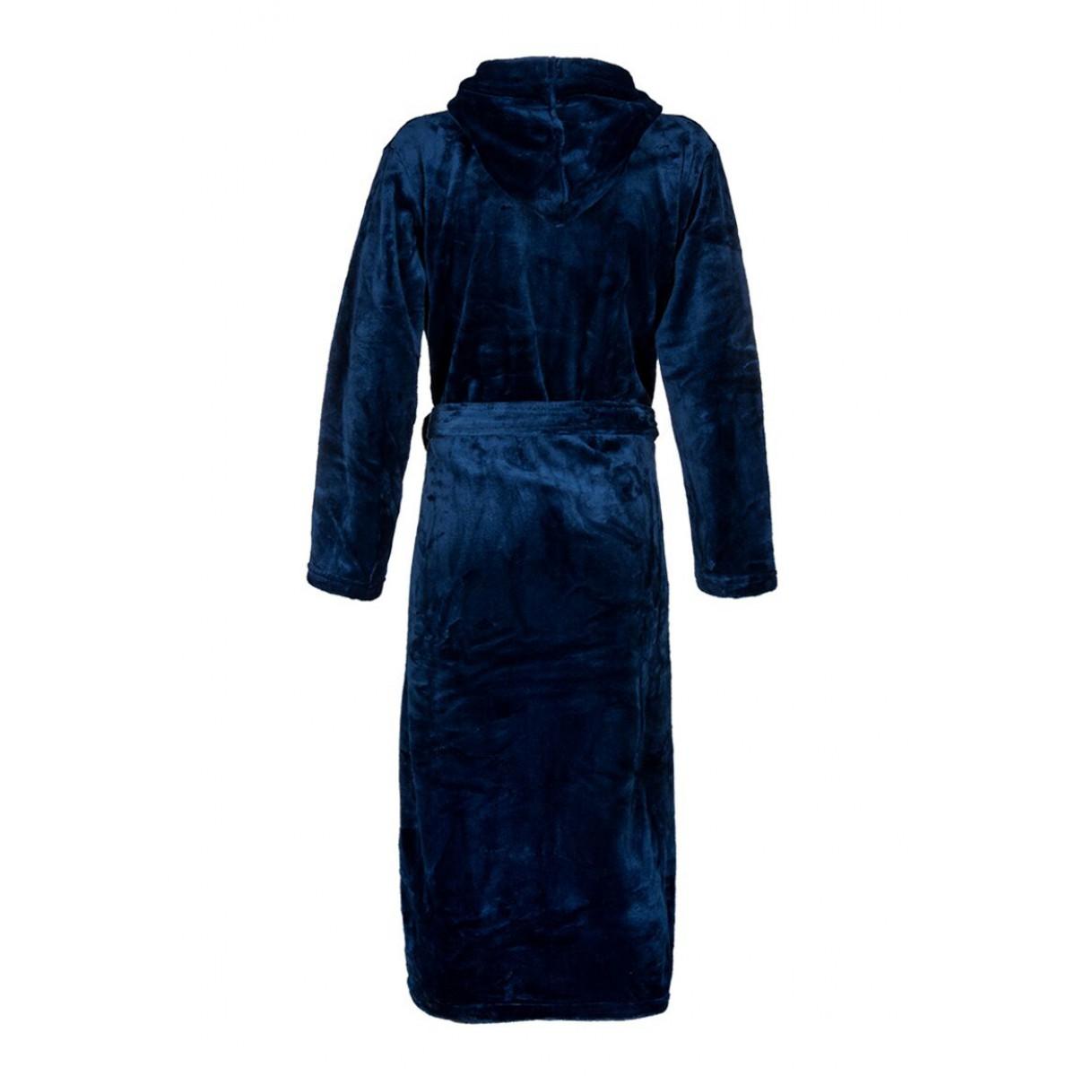 Fleece badjas blauw met capuchon