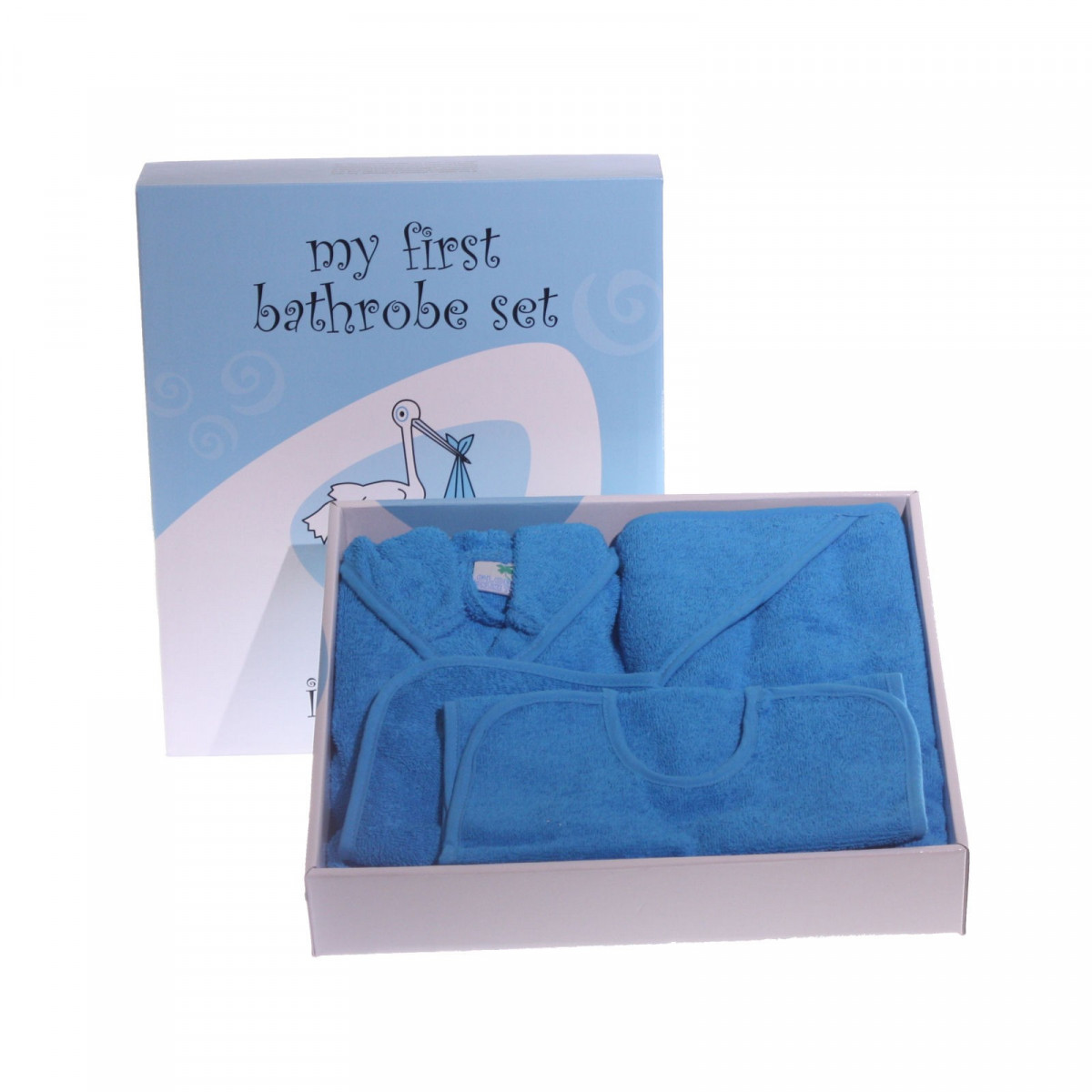 Blauwe baby-badjas