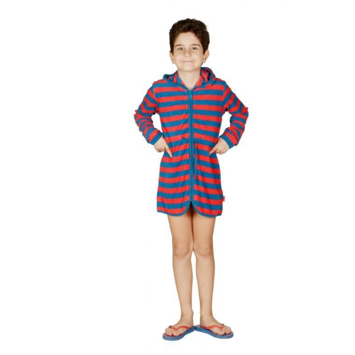 Gestreepte kinder-badjas blauw