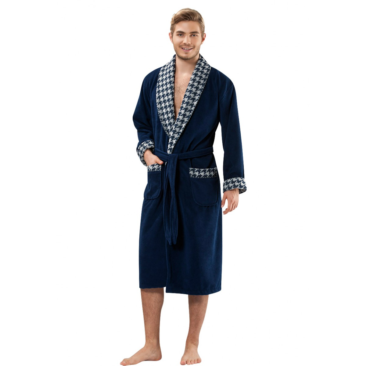 blauwe badjas voor de sauna