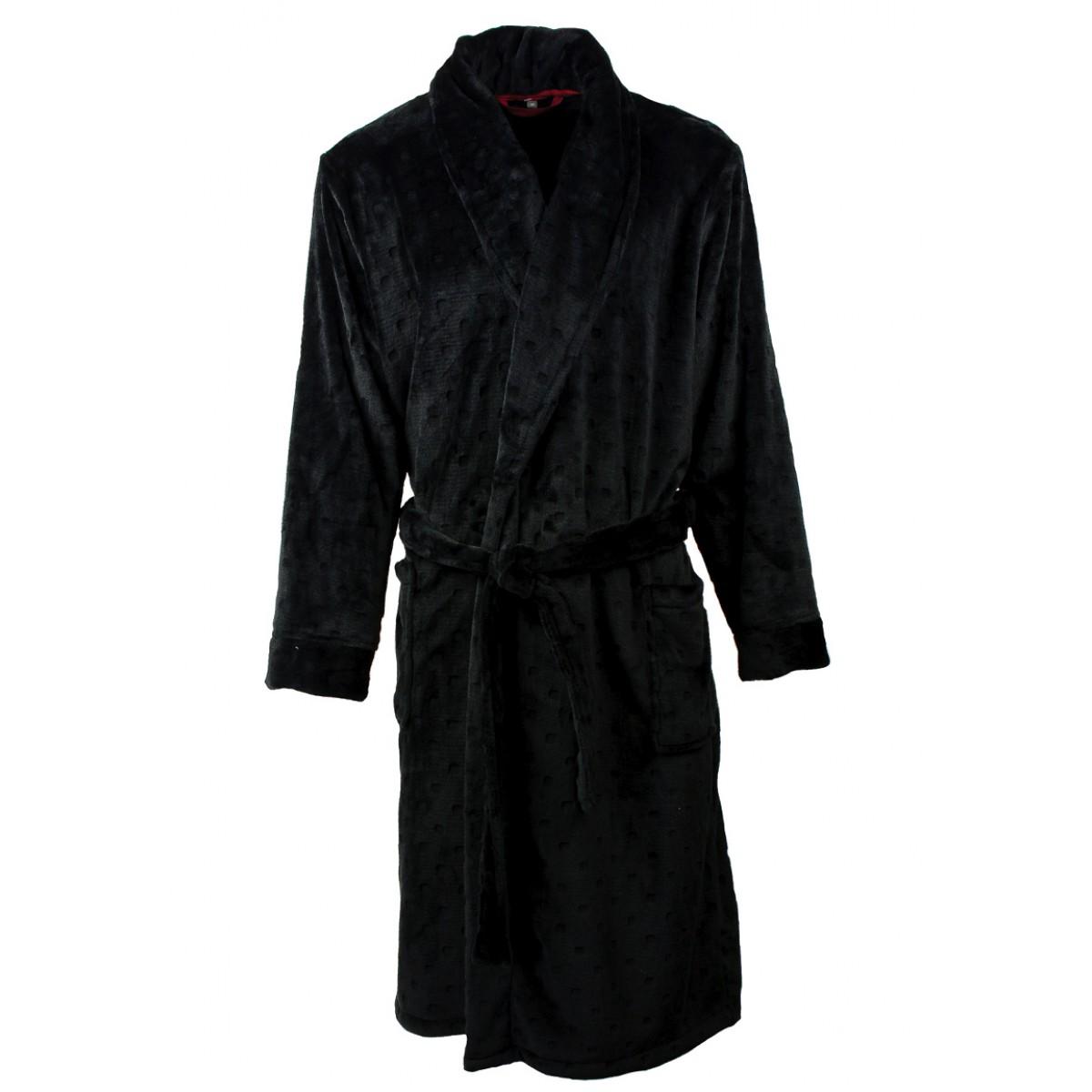 Effen zwarte herenbadjas
