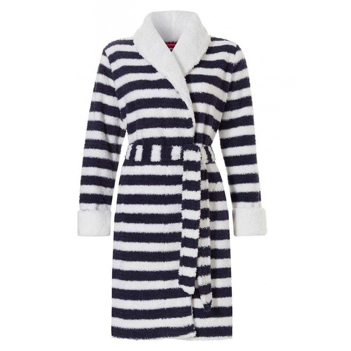 Blauw-wit gestreepte badjas kort