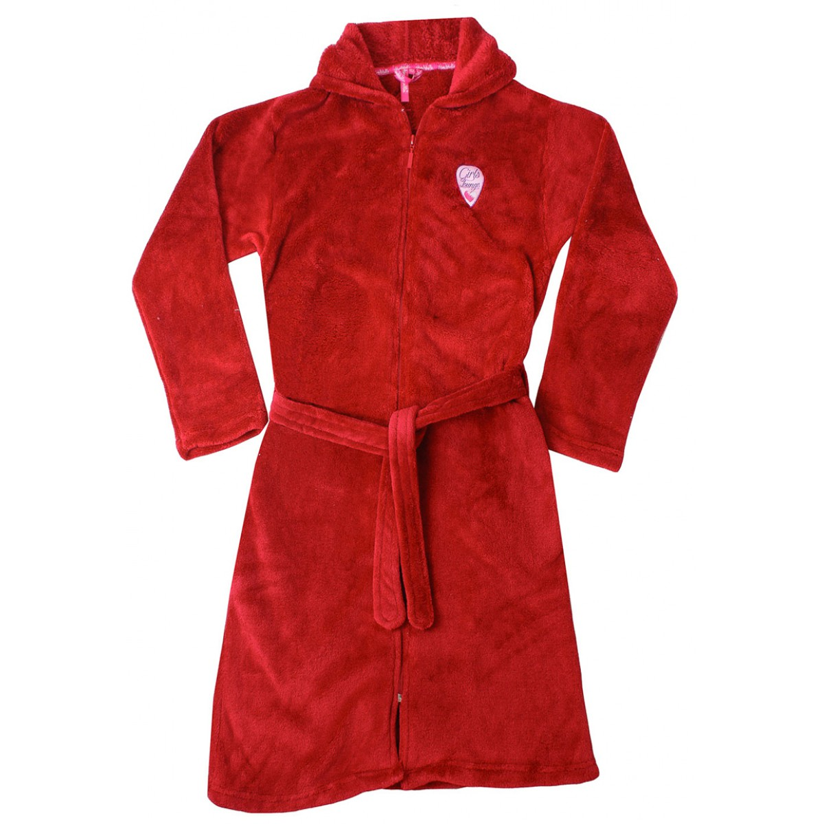 Rode kinderbadjas met rits