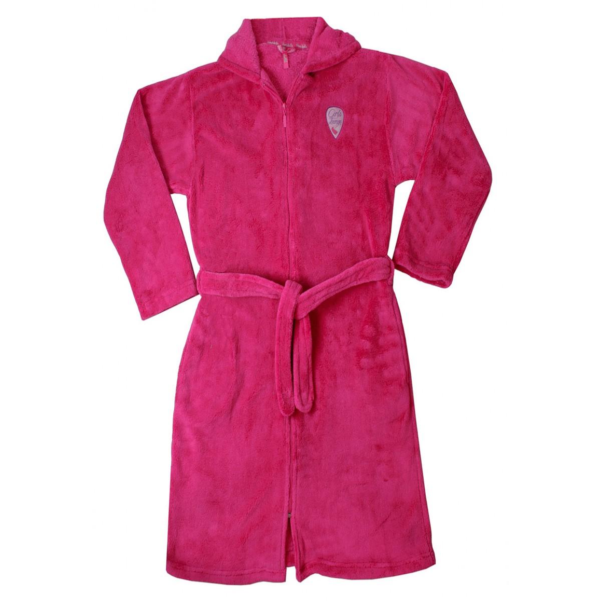 Roze meisjesbadjas met rits