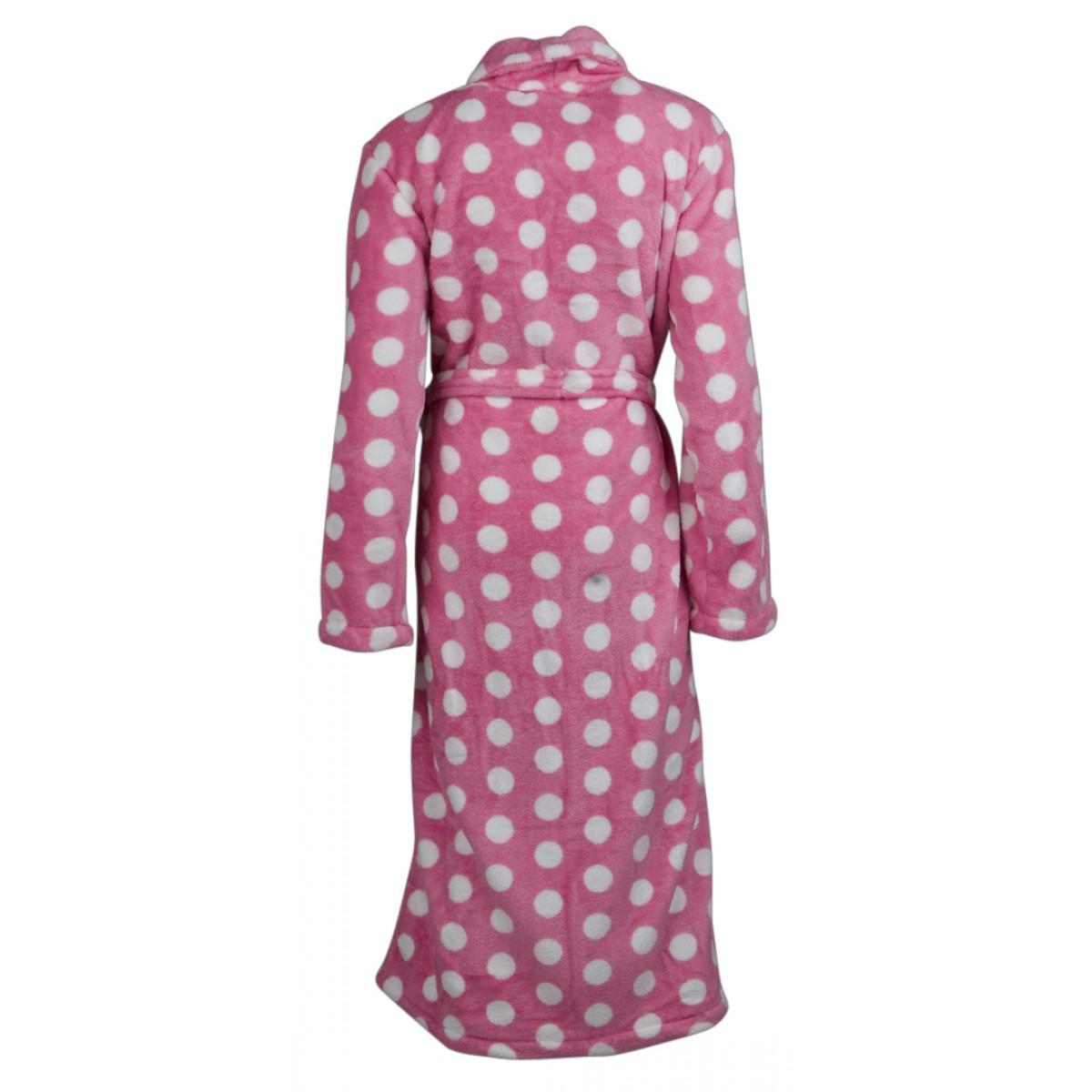 Roze dames-badjas met stippen