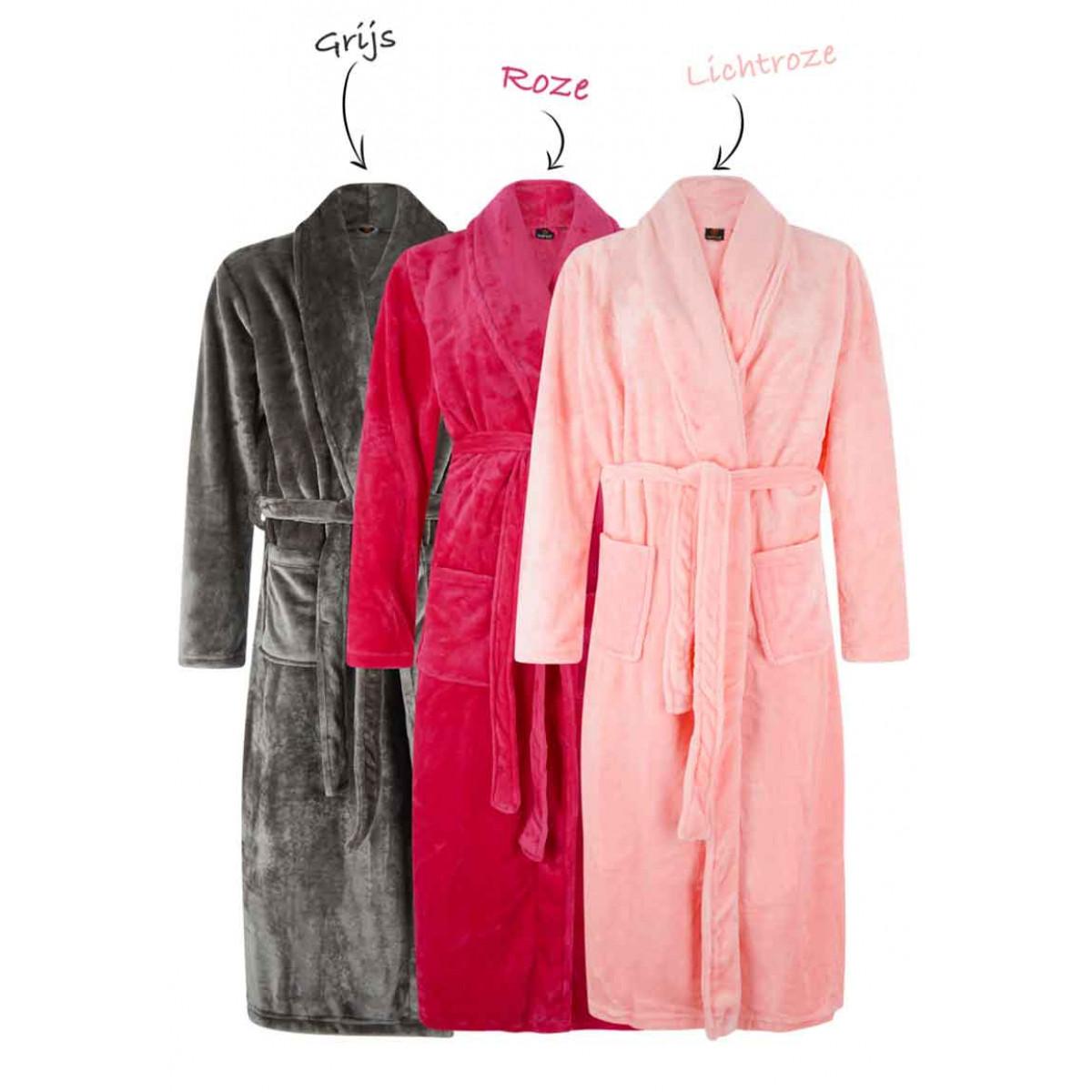 Fleece badjas met borduring van naam
