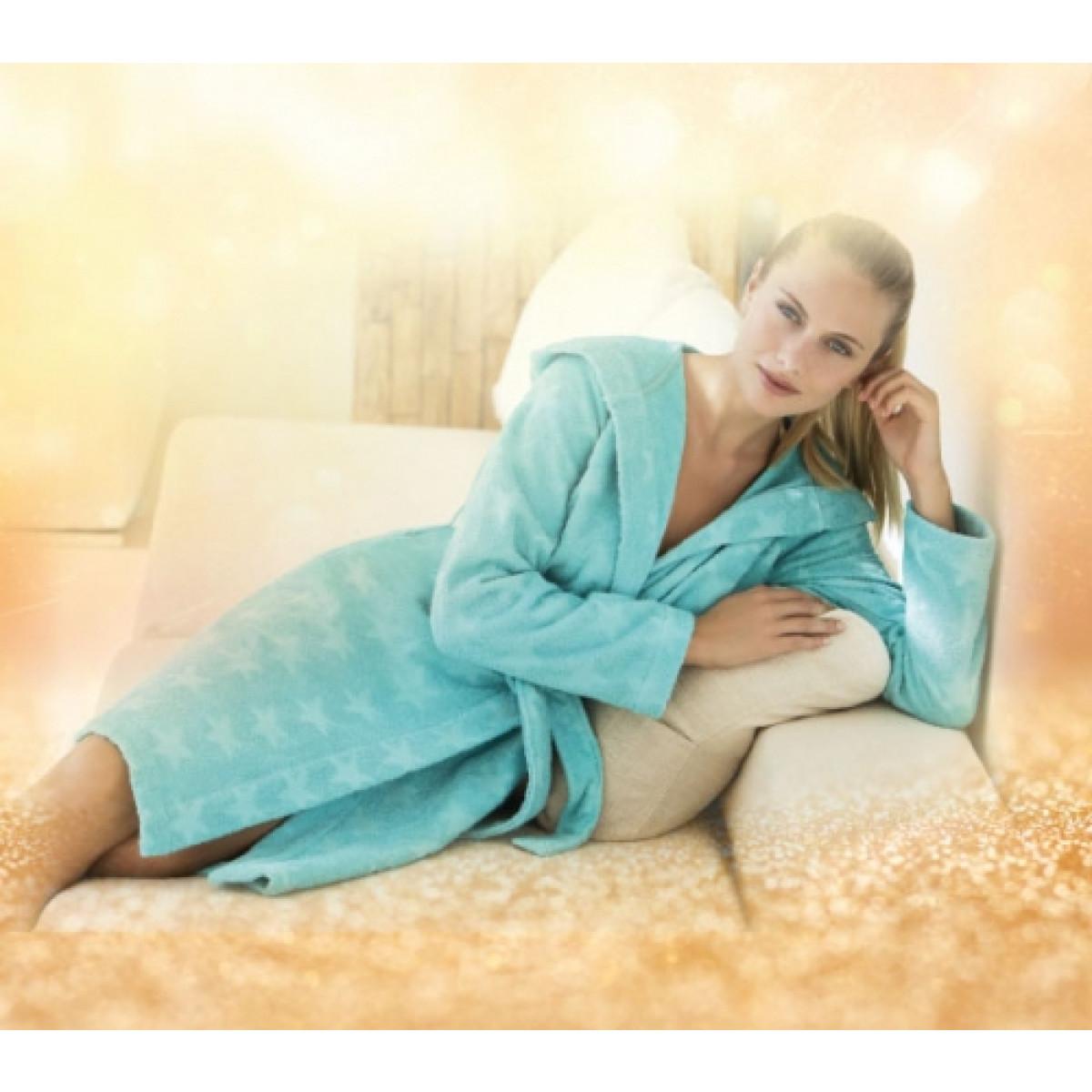Vossen damesbadjas turquoise