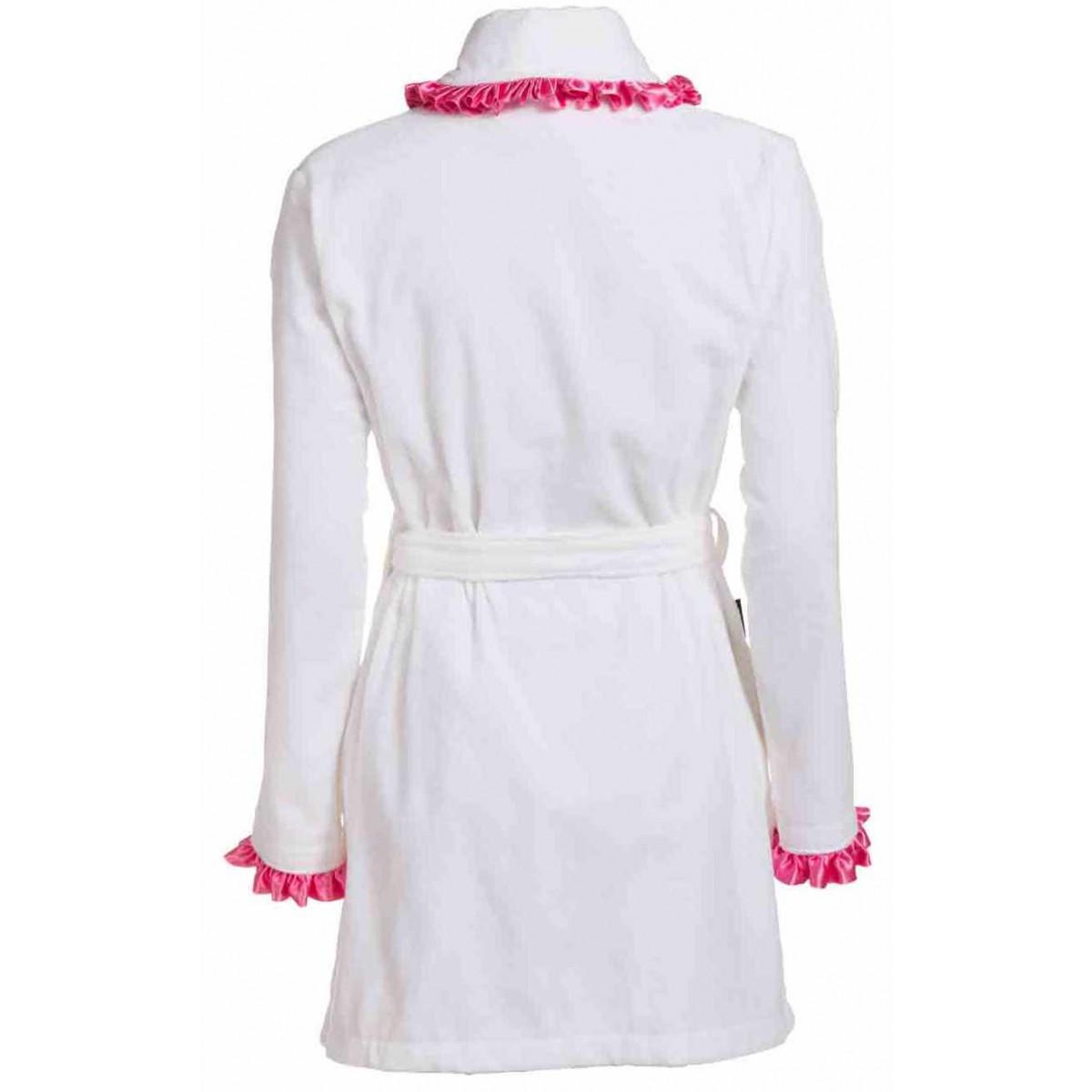 Witte dames-badjas met satijn