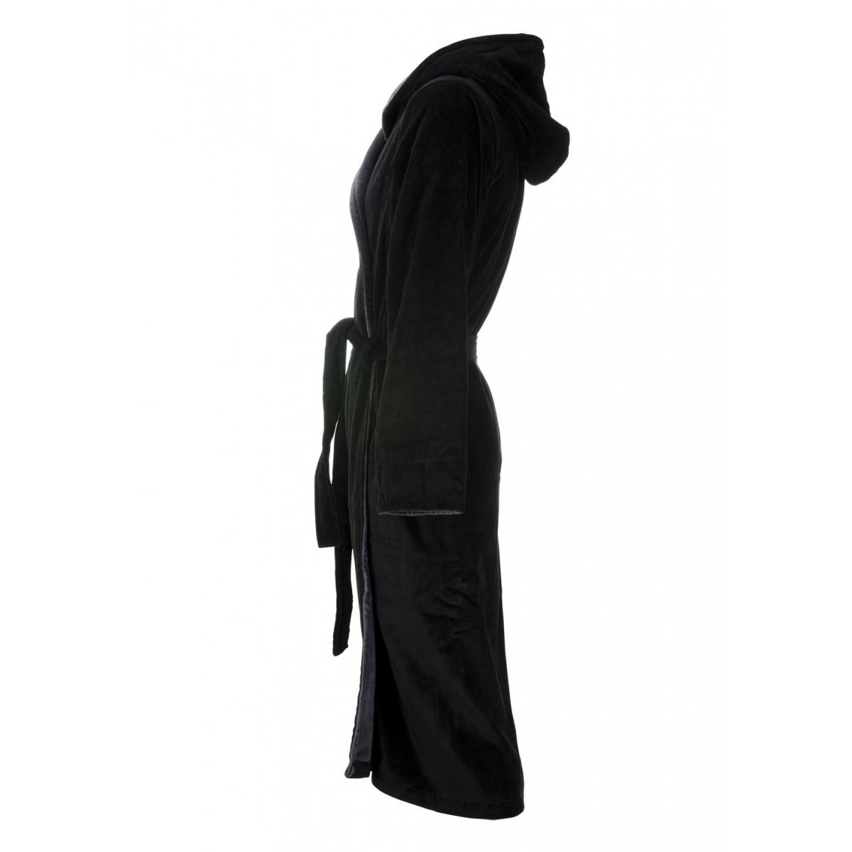 Zwarte heren badjas met capuchon