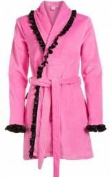Roze damesbadjas met satijn