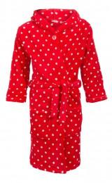 Kinderbadjas rood met witte stippen