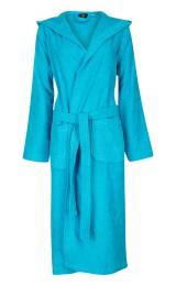 bjnl -Capuchon badjas aquablauw