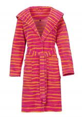 Vossen damesbadjas roze met strepen