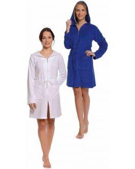Badjas met rits wit & blauw