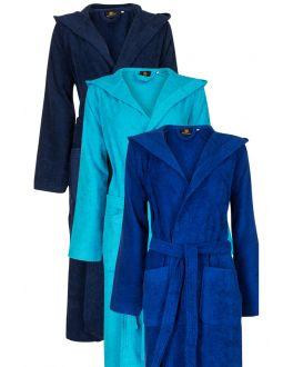 Blauwe badjassen met capuchon