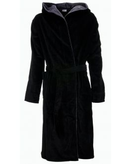 Zwarte herenbadjas met capuchon