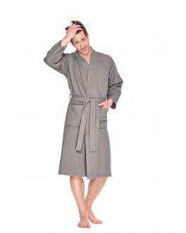 Taupe kimono wafelstructuur