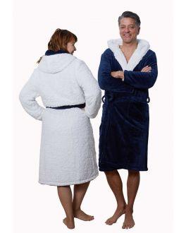 Navyblauwe badjas sherpa - unisex