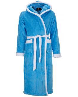 Aquablauwe dames-badjas met capuchon