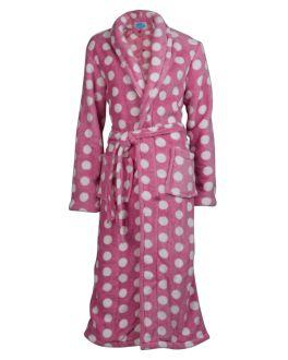 Roze damesbadjas met stippen