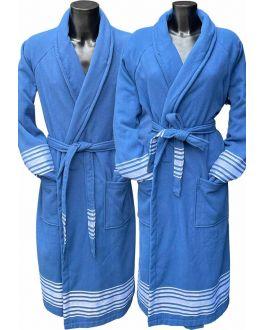 Blauwe saunabadjas hamam - katoen