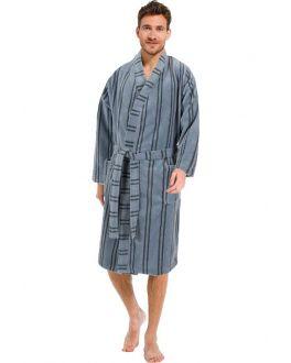 Pastunette heren kimono met streepmotief - fleece