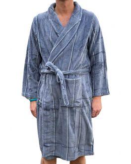 Badjas heren grijs - streepdessin - fleece