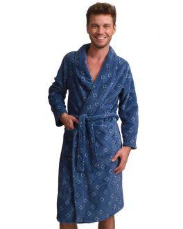 Blauwe fleece herenbadjas  - fleece - wiebertje