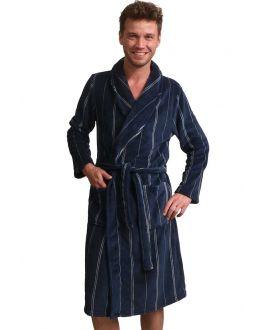 Blauwe herenbadjas streep - fleece