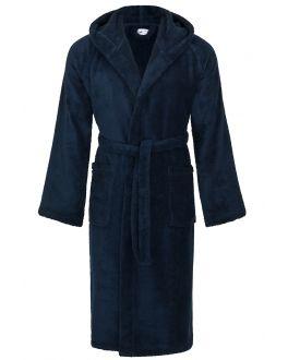blauwe badjas capuchon