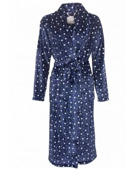 Blauwe sterrenbadjas dames fleece