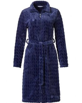 Pastunette donkerblauwe korte damesbadjas - fleece