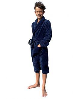 Kinderbadjas marineblauw fleece
