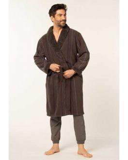 Bruine herenbadjas fleece