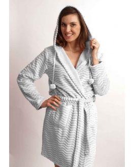 Lichtgrijze fleece badjas met capuchon