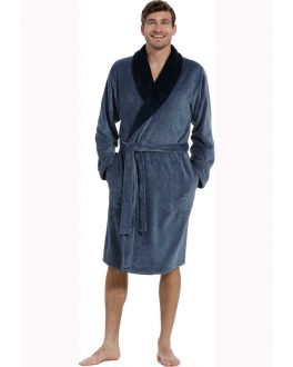 Fleece herenbadjas denimblauw
