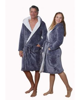 Grijze badjas sherpa - unisex badjas omkeerbaar
