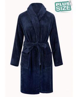Grote maten fleecebadjas - donkerblauw