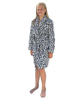 Fleece kinderbadjas luipaard zwart wit