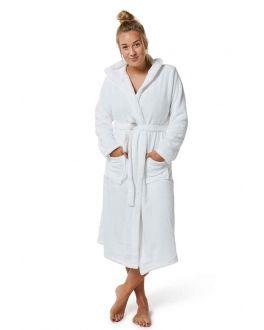 Witte fleece badjas capuchon