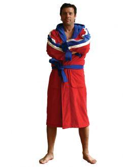 rode badjas voor hem
