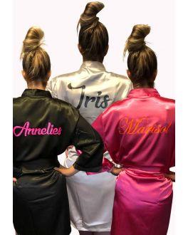 Satijnen kimono personaliseren bedrukking
